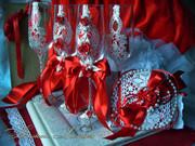 БОКАЛЫ,  шампанское свадебное,  ЭЛИТНЫЕ СВАДЕБНЫЕ АКСЕССУАРЫ HAND MADE