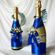 Украшение на бутылки шампанского,  бокалы,  свечи на свадьбу